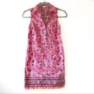 Tori Richard Pink Printed Button Down Shirt Dress